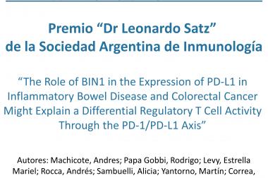 """Premio """"Dr Leonardo Satz"""" de la Sociedad Argentina de Inmunología"""