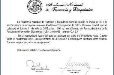 Incorporación como Académico correspondiente del Dr. Carlos Alberto Fossati a la Academia Nacional de Farmacia y Bioquímica