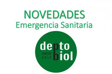 IMPORTANTE: NOVEDADES DEPARTAMENTALES EN EL MARCO DE LA EMERGENCIA SANITARIA