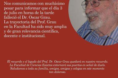 Fallecimiento del Profesor Emérito Dr. Oscar Grau